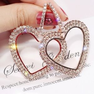 Rose Gold Austrian Crystal Dangle Heart Earrings
